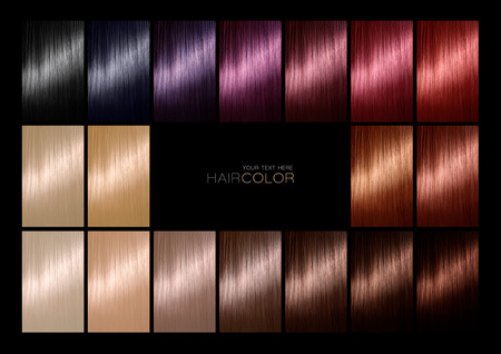 Hair color palette with a range of swatches showing the different colors of the dyes on hair samples arranged on a card in neat rows with central black copy space in a hair salon or styling concept. Tints. Hair colour set. Hair texture in diferent colours.