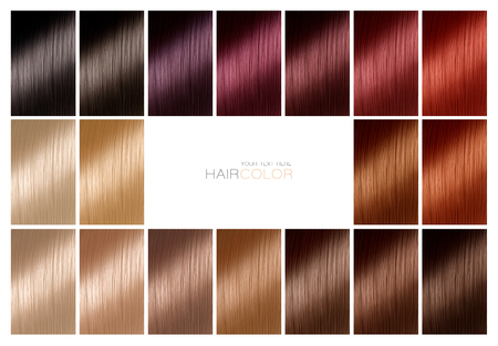 Color chart for hair dye. Hair color palette with a wide range of swatches showing different dyed hair color samples arranged on a card in neat rows with central white copy space in a hair salon or styling concept. Tints. Hair colour set. Hair texture in diferent colours.