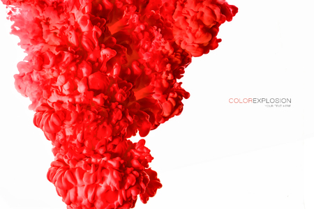 Closeup of a colorful red acrylic ink in water isolated on white with copy space. Abstract background. Color explosion. Paint texture.