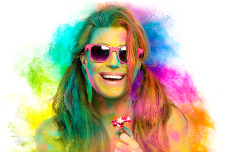 Beautiful sensual woman covered in rainbow colored powder Zdjęcie Seryjne