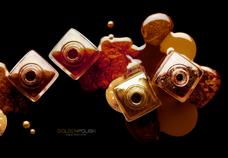 Nail art and beauty concept with trendy metallic lacquer or nail polish spilled artistically around four square open bottles over black background, top view of creative layout.