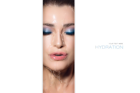Beauty concept of waterproof makeup with a cropped center view of a glamorous woman wearing make-up Zdjęcie Seryjne
