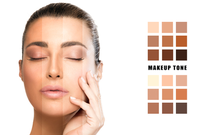 Makeup skin concealer tone selection on face concept. Beautiful model girl with flawless skin, hand on face with eyes closed. White background and variety of tone color samples in squares on the right Zdjęcie Seryjne