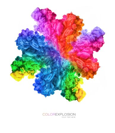 Color explosion. Rainbow of colors. Ink in water isolated on white with copy space for text