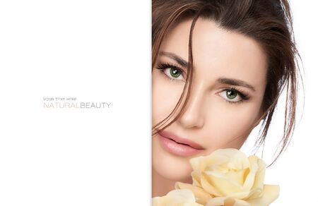 Natural beauty and bio cosmetics concept with a gorgeous green eyed woman