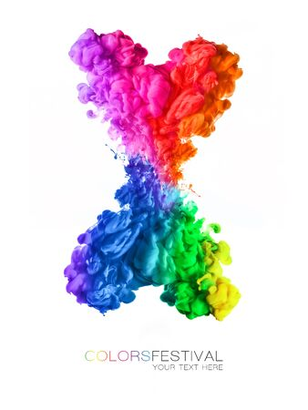 Colors festival. Acrylic ink in water. Explosion of rainbow colored swirling water in shape of letter X isolated on white background with copy space.