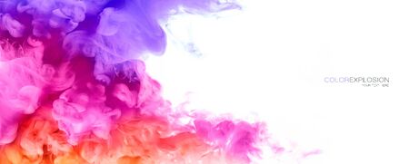 Closeup of colorful ink in water isolated on white Zdjęcie Seryjne