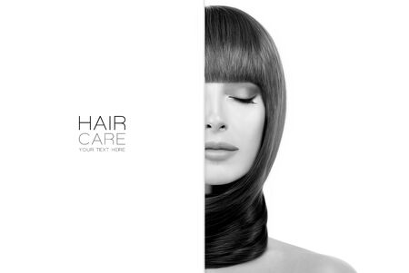 Hair care and hair products concept with a beautiful model girl with healthy straight long hair wound around neck