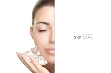 Beauty face spa woman with fresh clean skin applying ice cubes on cheek.