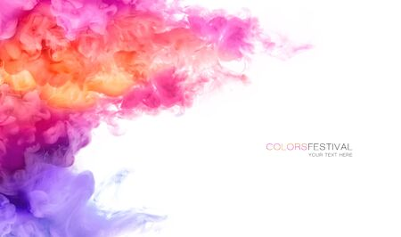 Abstract background banner with colorful pink, purple, orange and yellow shades of colorful ink in water isolated on white background. Festival of colors with sample text. Paint texture. Color Explosion panorama
