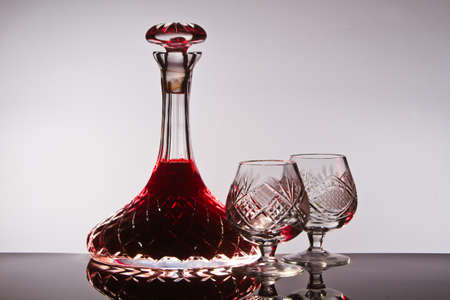 decanter: Crystal wine decanter Stock Photo