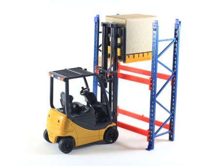 industrial accident: Accident of Electrical forklift and rack isolated on a white background Stock Photo