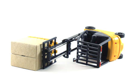 forklift: Accident of Electrical forklift and rack isolated on a white background Stock Photo