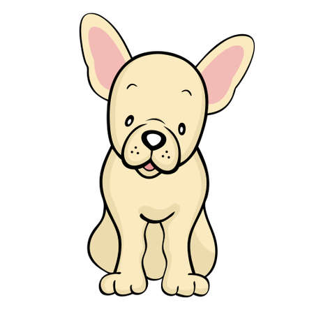 bulldog: Fawn French Bulldog isolated Illustration
