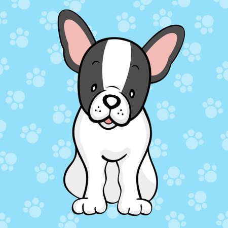 bulldog puppy: Black pied French bulldog Illustration