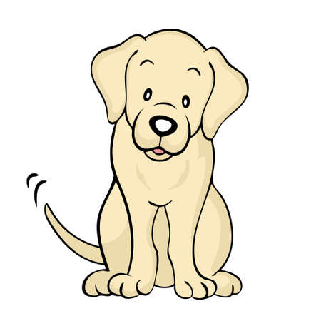 labrador retriever: Yellow labrador dog Isolated Illustration