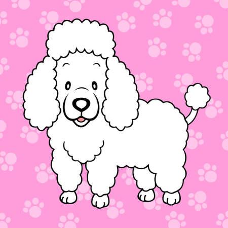 cute cartoon dog: White Poodle