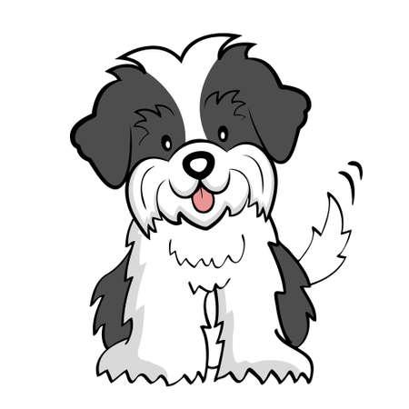 perro caricatura: Corte cachorro Shih tzu aislados