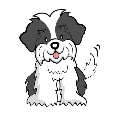 welpe: Puppy Cut Shih tzu isoliert Illustration