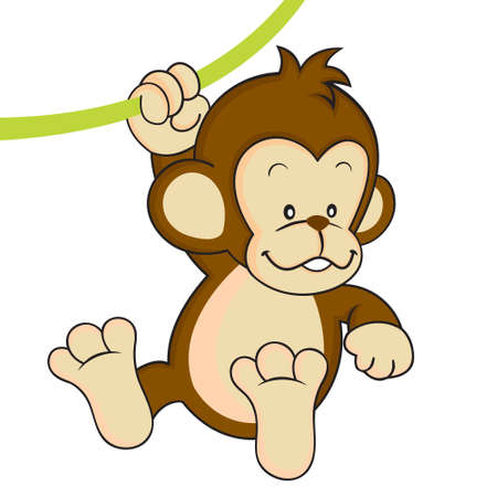 Baby monkey swinging isolated