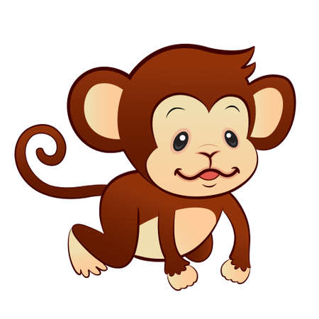 Cute monkey baby isolated Vector