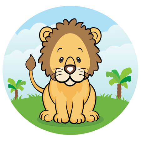Friendly lion in the jungle Vector