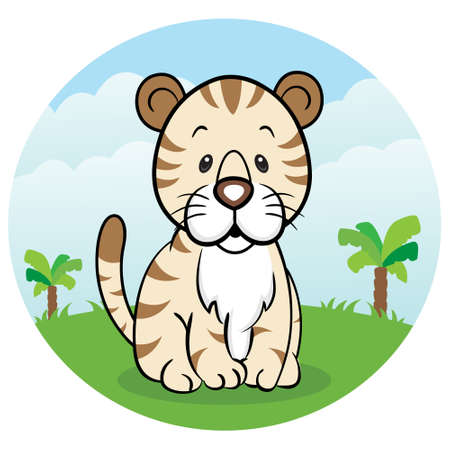 Friendly tiger in the jungle Vector