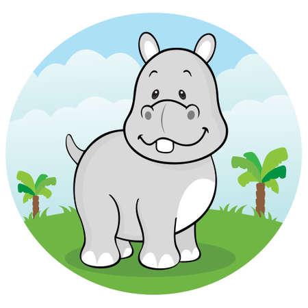 hippo cartoon: Happy hippopotamus Illustration