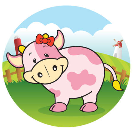 Strawberry cow in dairy farm Vector