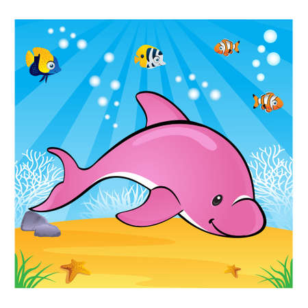 Happy dolphin swimming in the ocean Vector