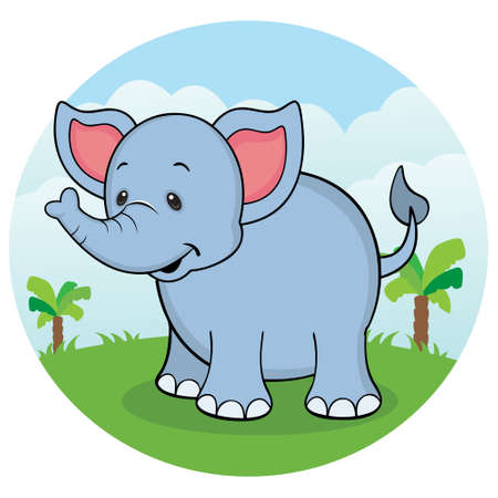 Happy elephant in the jungle Vector