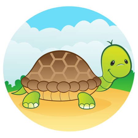 Happy green turtle Vector