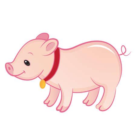 piglet: Happy piglet isolated Illustration
