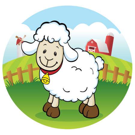 lamb cartoon: Happy sheep in the farm