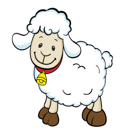 sheep clipart: Happy sheep Isolated