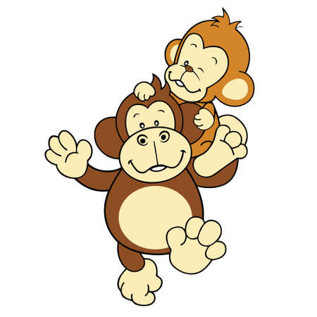naughty boy: Monkey and Gorilla playing together isolated