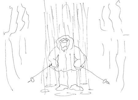 nordic walking: nordic walking in the rain