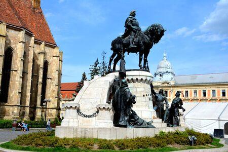 Statue of Matei Corvin, in center of Cluj-Napoca, Transylvania Editorial
