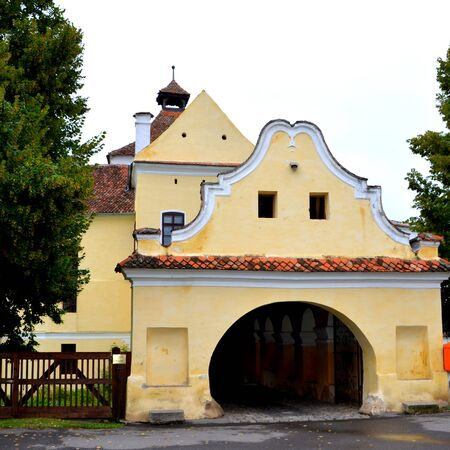 cetatuia: Entrance in the fortified church Harman (Honigburg), Transylvania Stock Photo
