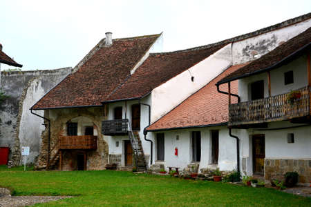 cetatuia: Courtyard of the fortified church Harman (Honigburg), Transylvania Stock Photo