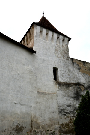 holliday: Walls of the fortified church Harman (Honigburg), Transylvania Stock Photo