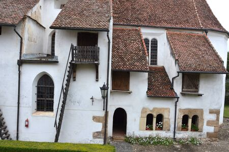 the courtyard: Courtyard of fortified church Harman (Honigburg), Transylvania Stock Photo