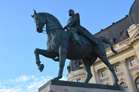 Statue of king Carol I in Bucharest 免版税图像