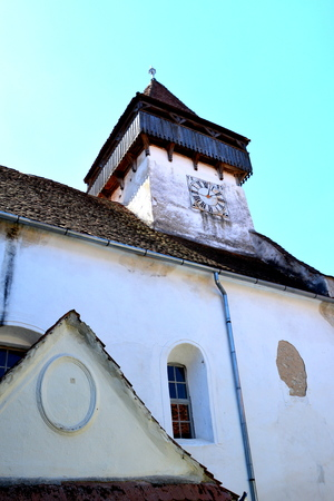 fortified: Fortified medieval church in the village Homorod, Transylvania Stock Photo