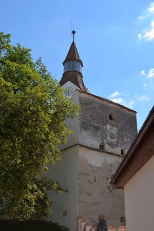 burg: Fortified medieval church in Bunesti, Transylvania Stock Photo