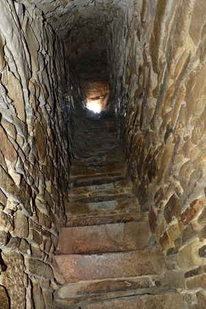 fortified: Tunnel inside the fortified church in Viscri, Transylvania Stock Photo