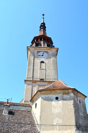 fortified: Fortified medieval church in the village Sanpetru, Transylvania Stock Photo