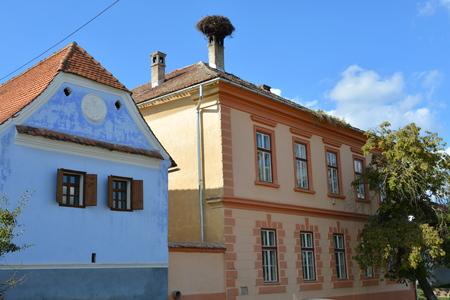 transylvania: Typical houses in the village Viscri, Transylvania Stock Photo
