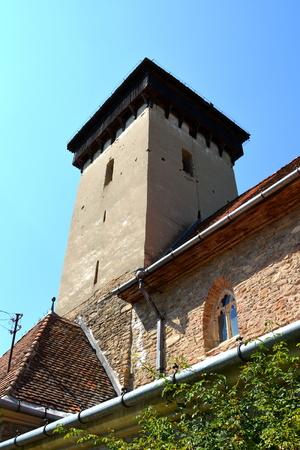burg: Fortified saxon church in the village Malancrav, Transylvania Stock Photo