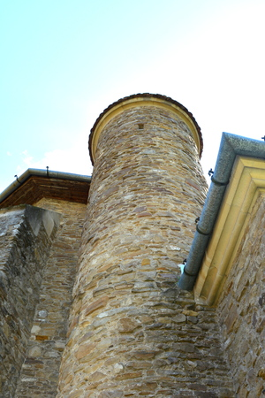 fortified: Fortified saxon church in the village Malancrav, Transylvania Stock Photo